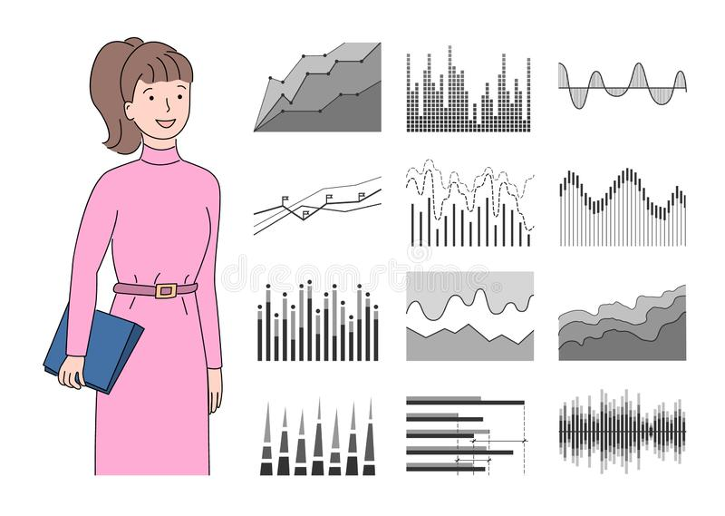 Infocharts и доска сзажимом для бумаги удерживания женщины со страницами иллюстрация штока
