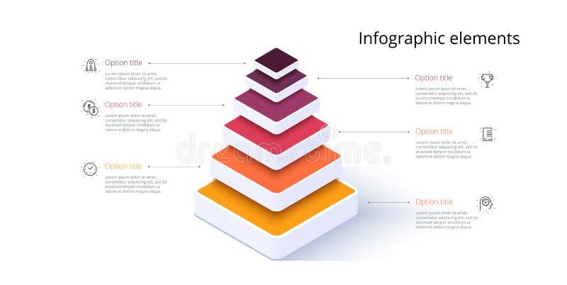 Infografica del grafico a piramide aziendale con sei passaggi Elementi grafici delle fasi piramidali Modello di presentazione dei illustrazione vettoriale