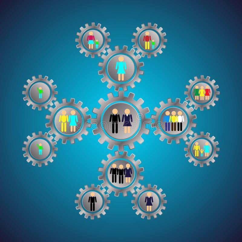 Infografics metal przekładnie z ludźmi dzieci, rodzina, koledzy, przyjaciele, ogólnospołeczni powiązania ilustracji