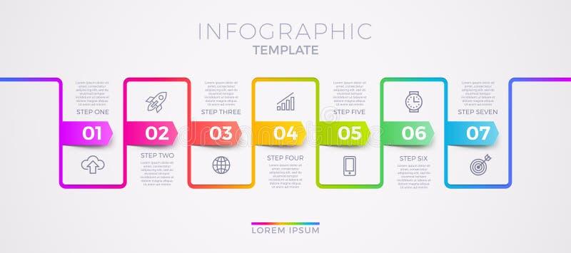 Infografisch malplaatjeontwerp met bedrijfspictogrammen Stroomschema met zeven opties of stappen Infografisch begrip vector illustratie
