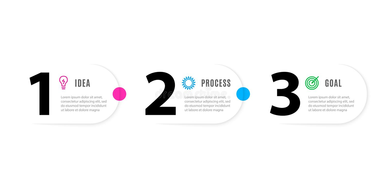 Infograph 3 элемента шагов Шаблон Infographic дела со значками и 3 вариантами Графический процесс срока вектор бесплатная иллюстрация