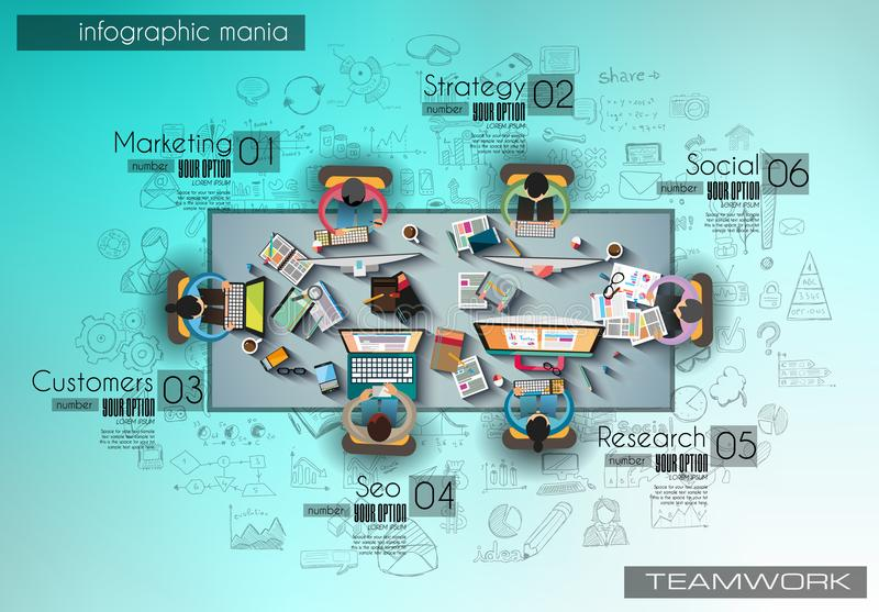 Infograph achtergrondmalplaatje met een temworking brainstormingslijst met infographic ontwerpelementen royalty-vrije illustratie