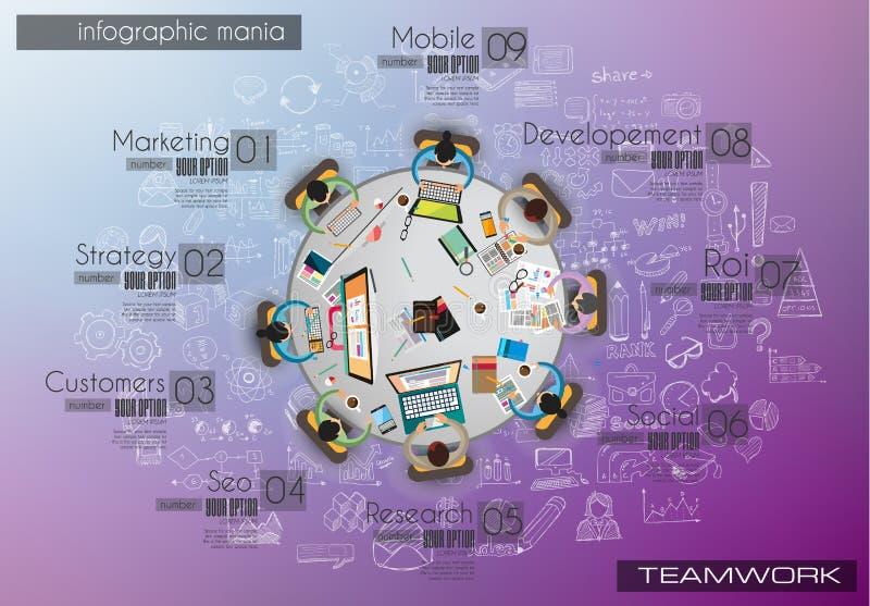 Infograph bakgrundsmall med en temworking idékläckningtabell med infographic designbeståndsdelar stock illustrationer