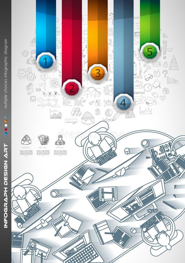 Infograph broszurki szablon z mnóstwo wyborami i mnóstwo infographic projektów elementami ilustracja wektor