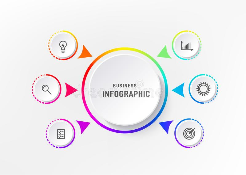 Infograph 6 element with centre circle. Graphic chart diagram, business timeline graphic design in bright rainbow color royalty free illustration