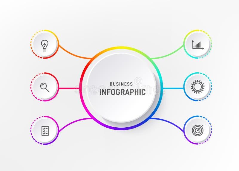 Infograph 6 element met centrumcirkel Grafisch grafiekdiagram, bedrijfschronologie grafisch ontwerp in heldere regenboogkleur stock illustratie