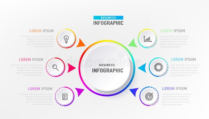 Infograph 6 element met centrumcirkel Grafisch grafiekdiagram, bedrijfschronologie grafisch ontwerp in heldere regenboogkleur vector illustratie
