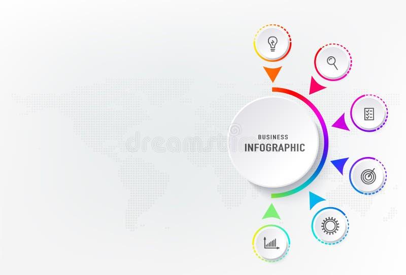 Infograph 6 kroczy element, diagrama proces z centre okręgiem Graficzny mapa diagram, biznesowego linia czasu graficzny projekt royalty ilustracja