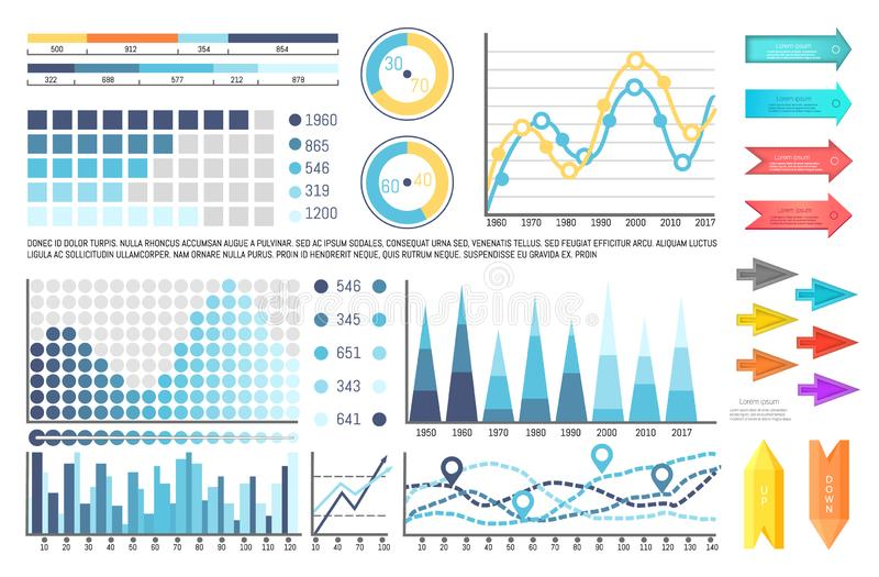 Infographics and Pie Diagrams, Business Concept stock illustration