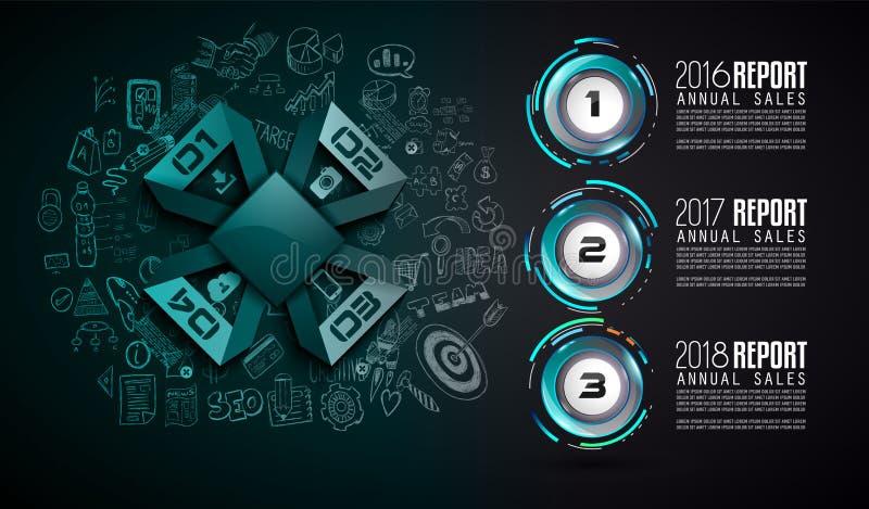 Infograph-Schablone mit Multiplen Choices und vielen infographic Gestaltungselementen vektor abbildung