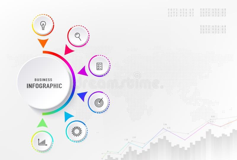 Infograph 6 Schritte Element, Diagrammprozeß mit Mittekreis Grafisches Nomogramm, Geschäftszeitachsegrafikdesign lizenzfreie abbildung