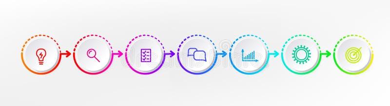 Infograph-Schrittelement Grafisches Nomogramm des Kreises, Geschäftszeitachsegrafikdesign in der Regenbogenfarbe Vektor lizenzfreie abbildung