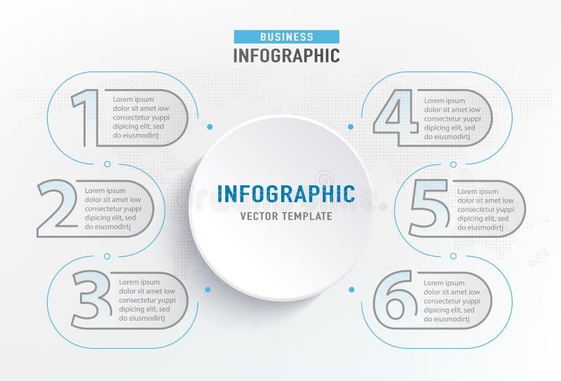 Infograph 6 stapelement Diagram van de cirkel het grafische grafiek, bedrijfsgrafiekontwerp Vector illustratie royalty-vrije illustratie