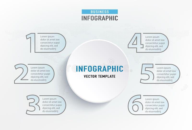 Infograph 6 stapelement Diagram van de cirkel het grafische grafiek, bedrijfsgrafiekontwerp Vector illustratie stock illustratie