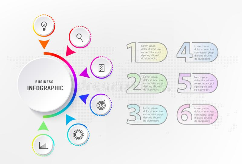 Infograph 6 stappenelement, diagramproces met centrumcirkel en aantallen Grafisch grafiekdiagram, bedrijfschronologie vector illustratie