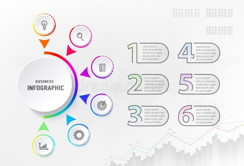 Infograph 6 stappenelement, diagramproces met centrumcirkel en aantallen Grafisch grafiekdiagram, bedrijfschronologie royalty-vrije illustratie