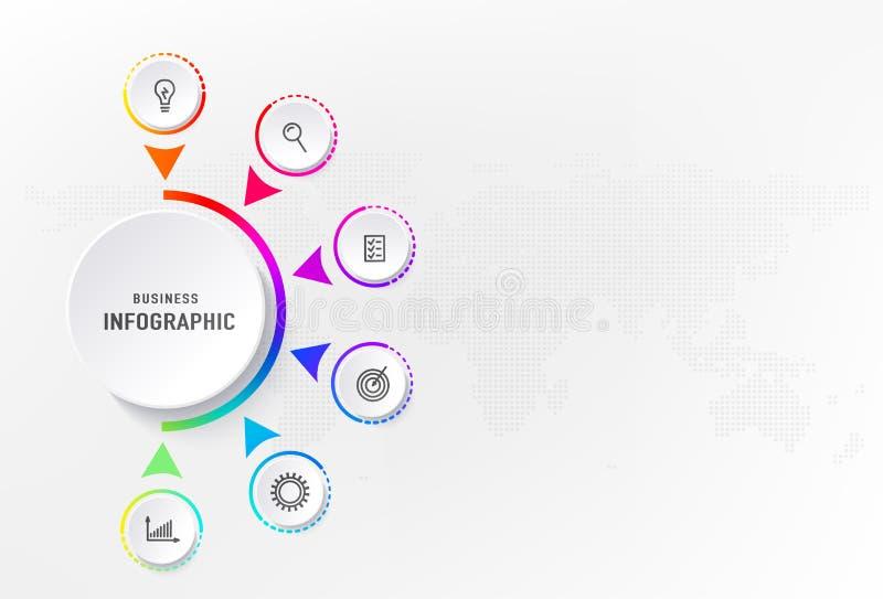 Infograph 6 stappenelement, diagramproces met centrumcirkel Grafisch grafiekdiagram, bedrijfschronologie grafisch ontwerp stock illustratie