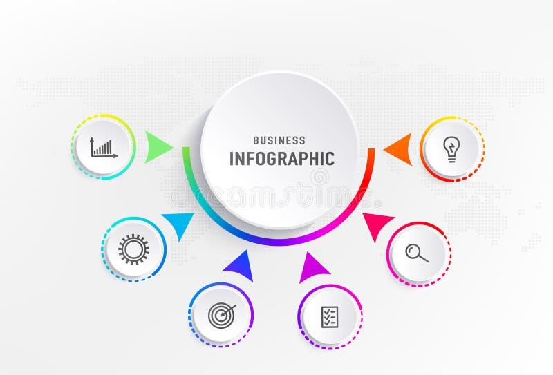 Infograph 6 stappenelement, diagramproces met centrumcirkel Grafisch grafiekdiagram, bedrijfschronologie grafisch ontwerp vector illustratie