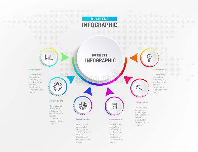 Infograph 6 stappenelement, diagramproces met centrumcirkel Grafisch grafiekdiagram, bedrijfschronologie grafisch ontwerp royalty-vrije illustratie