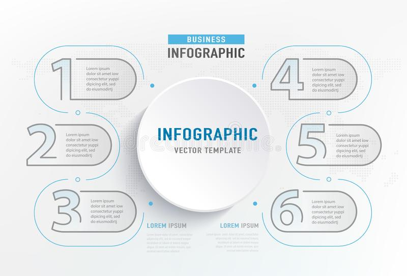 Infograph 6 step element. Circle graphic chart diagram, business graph design. Vector illustration.  royalty free illustration