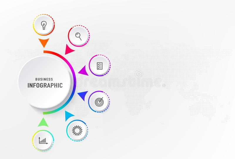 Infograph 6 steps element, diagram process with centre circle. Graphic chart diagram, business timeline graphic design. In rainbow color with icons, dots world stock illustration
