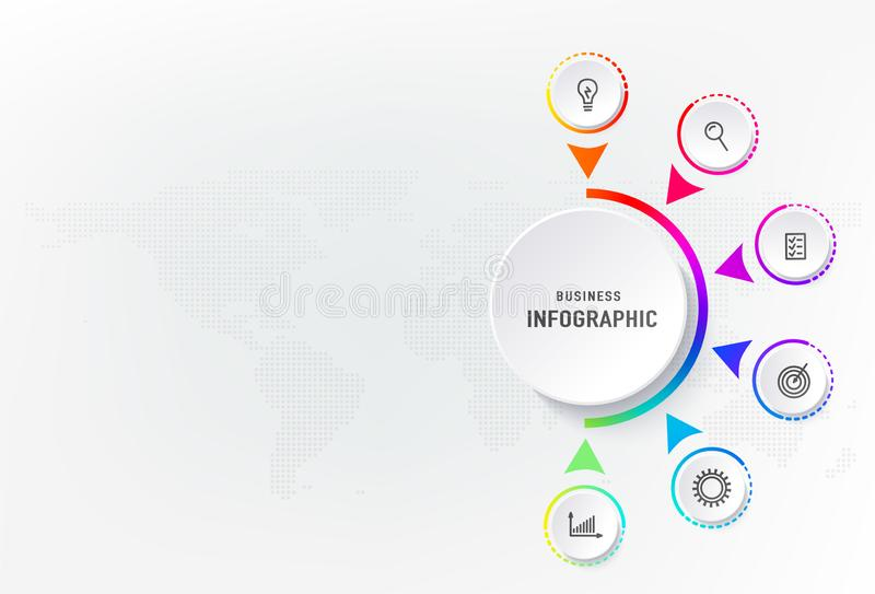Infograph 6 steps element, diagram process with centre circle. Graphic chart diagram, business timeline graphic design. In rainbow color with icons, dots world royalty free illustration