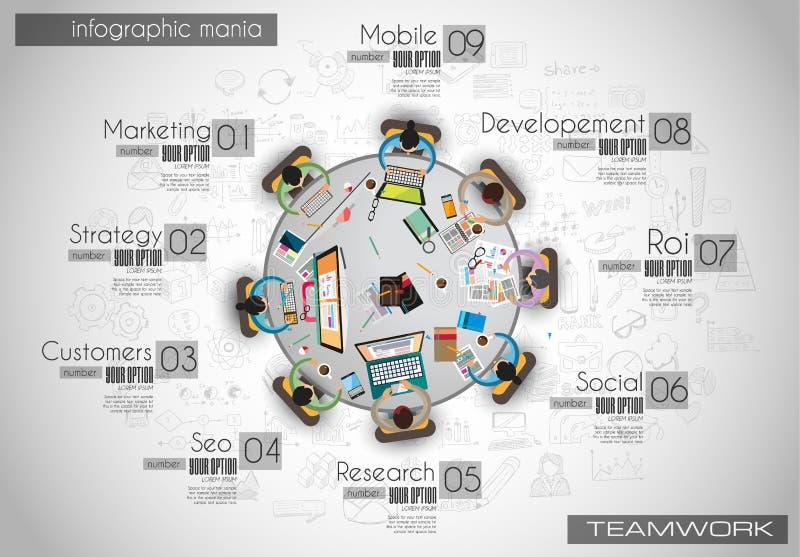 Infograph tła szablon z temworking brainstorming stołem royalty ilustracja