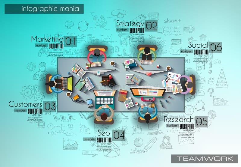 Infograph tła szablon z temworking brainstorming stołem z infographic projektów elementami royalty ilustracja