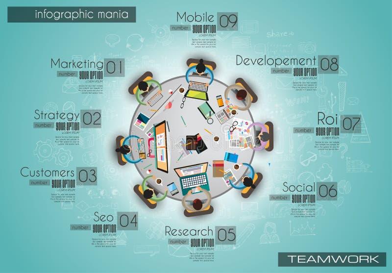 Infograph tła szablon z temworking brainstorming stołem z infographic royalty ilustracja