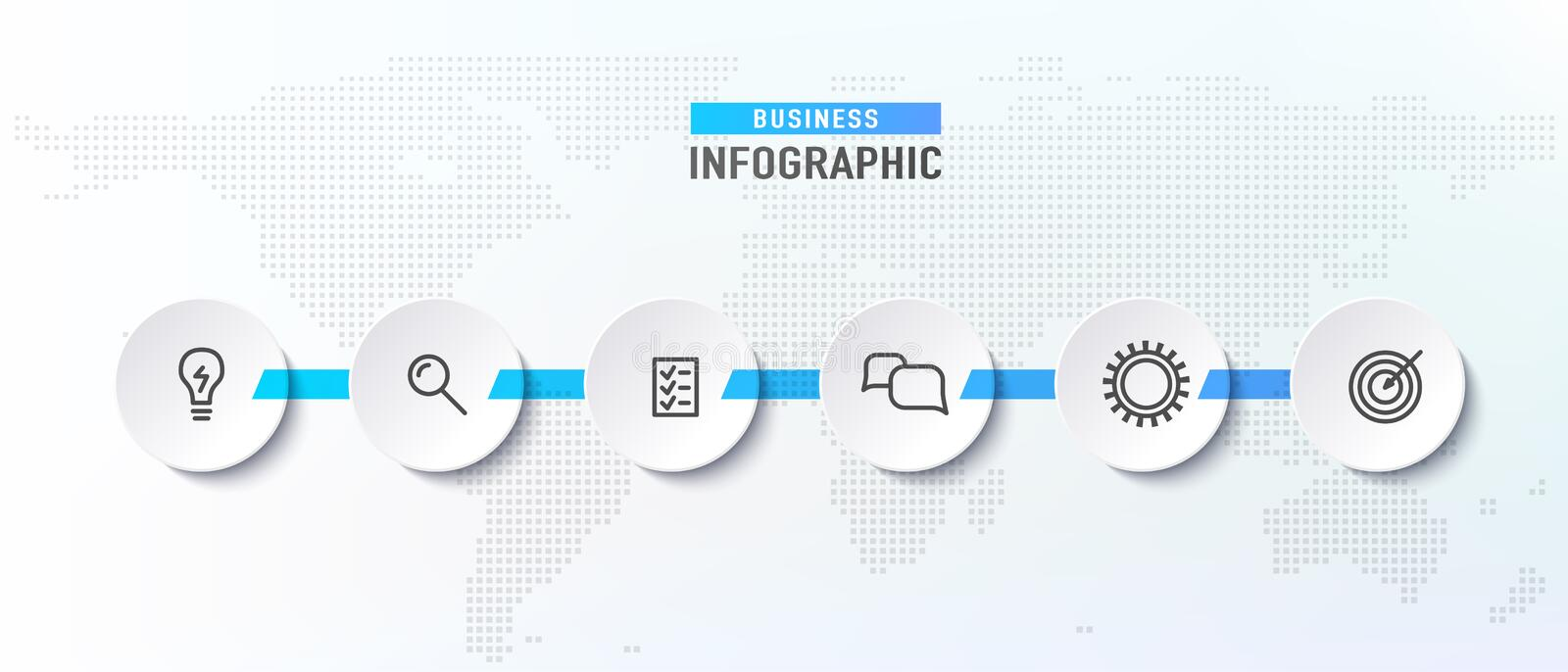 Infograph timeline process with circles. Diagram flowchart with icon templates. Vector illustration stock illustration