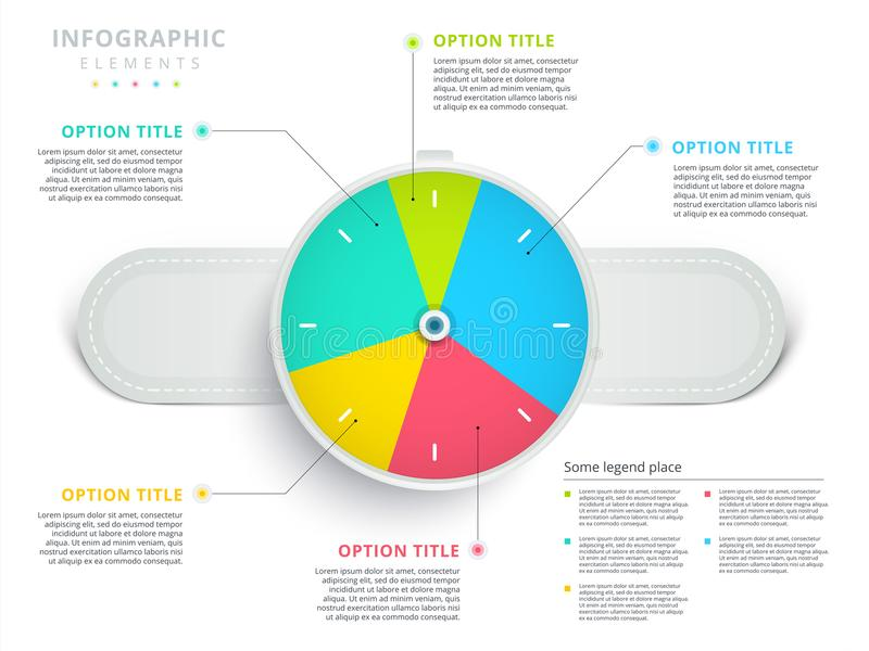 Infographi del gráfico de sectores del proceso de negocio del paso del reloj o del reloj 3 stock de ilustración