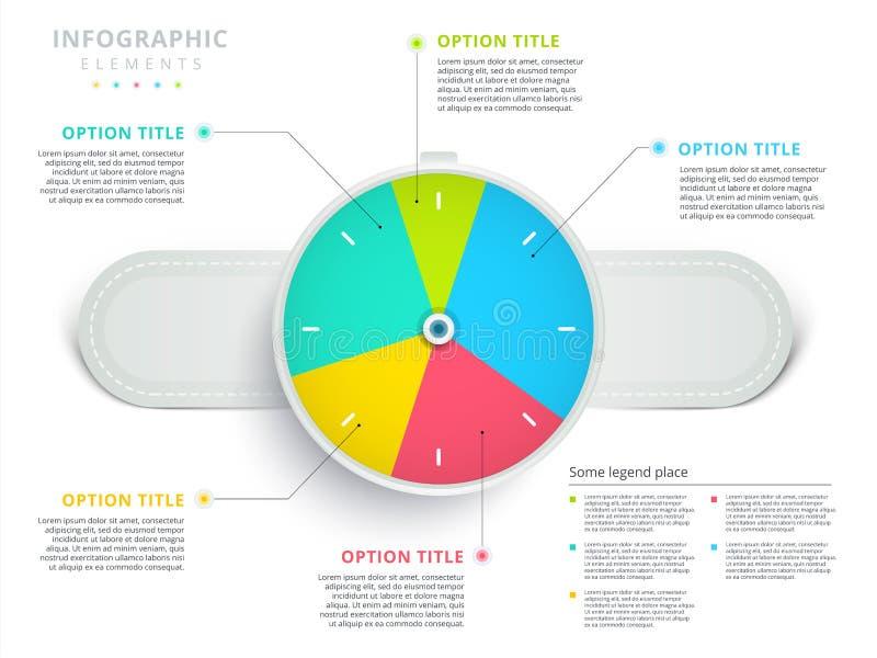 Infographi för diagram för paj för process för klocka- eller för armbandsur 3 momentaffär stock illustrationer