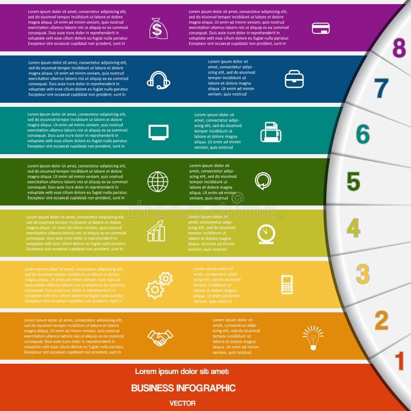 Infographic、8个彩带和半圆 向量例证