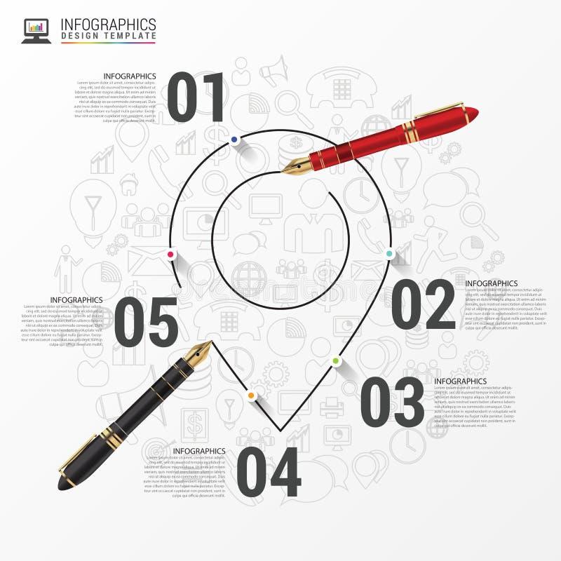 Infographic与地点尖的报告模板 向量 向量例证