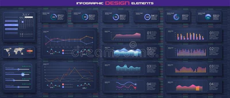 Infographic与平的设计图表和圆图网上统计和数据逻辑分析方法的仪表板模板 信息图表 向量例证