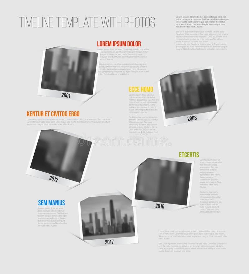 Infographic与照片的时间安排模板 库存例证