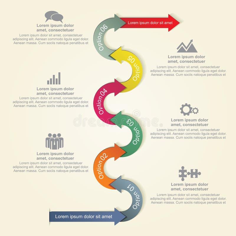 Infographic与箭头和象的报告模板 库存例证