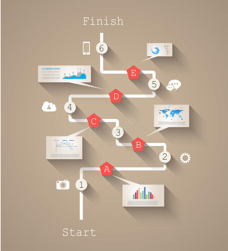 Infographic与纸标记的设计模板 库存例证