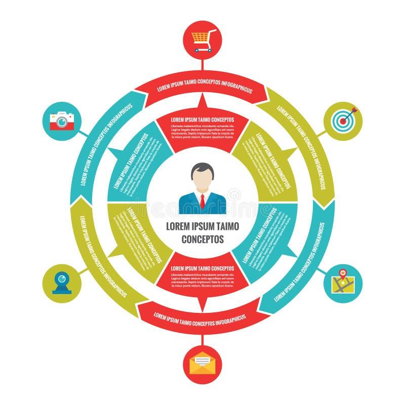 Infographic与象的工商界概念在平的样式设计 库存例证