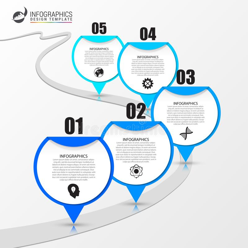 Infographic与路的设计模板 向量 库存例证
