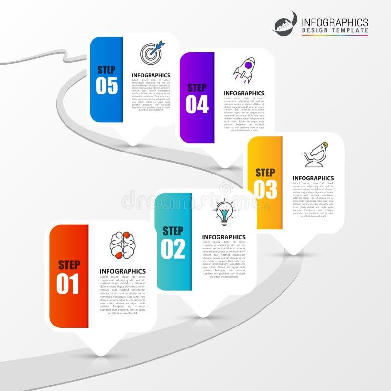 Infographic与路的设计模板 向量 向量例证