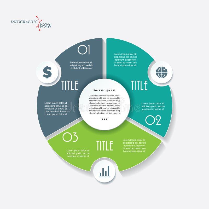 Infographic与3个段和圈子的企业模板 库存例证