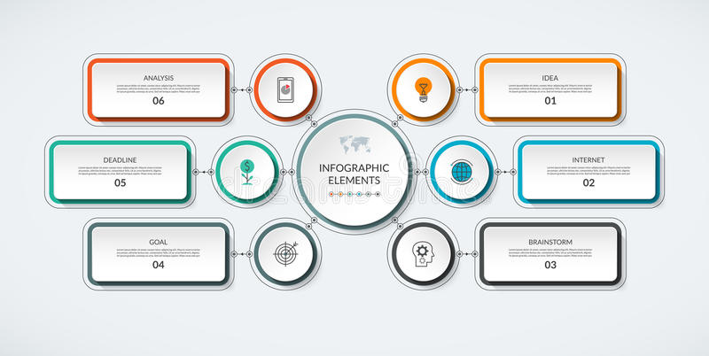 Infographic与6个选择的流程图 皇族释放例证