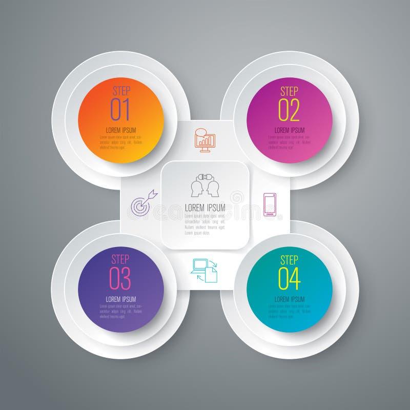 Infographic与4个选择的设计和企业象 库存例证