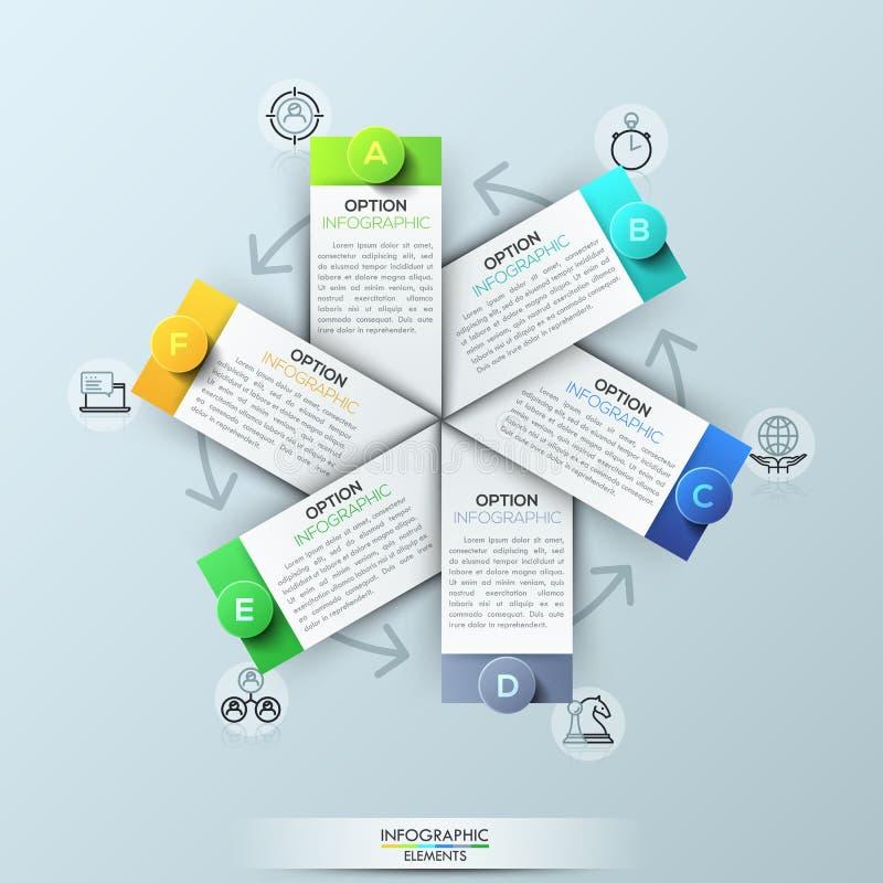 infographic与6个长方形元素的设计模板图片