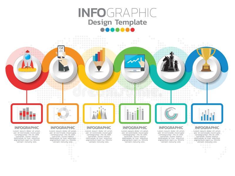 Infographic与6个颜色选择的模板设计 库存例证