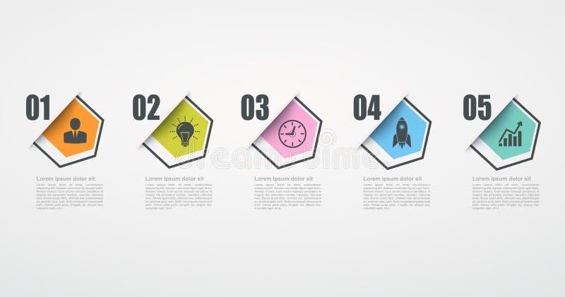Infographic与5步结构的设计模板 皇族释放例证