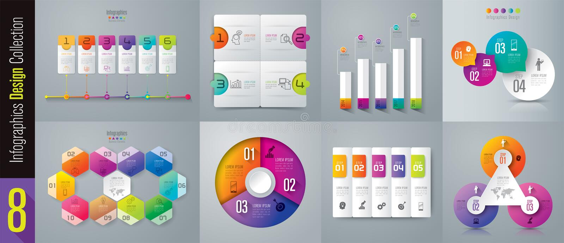 Infographic与3, 4, 5, 6, 10个选择的设计和企业象 皇族释放例证