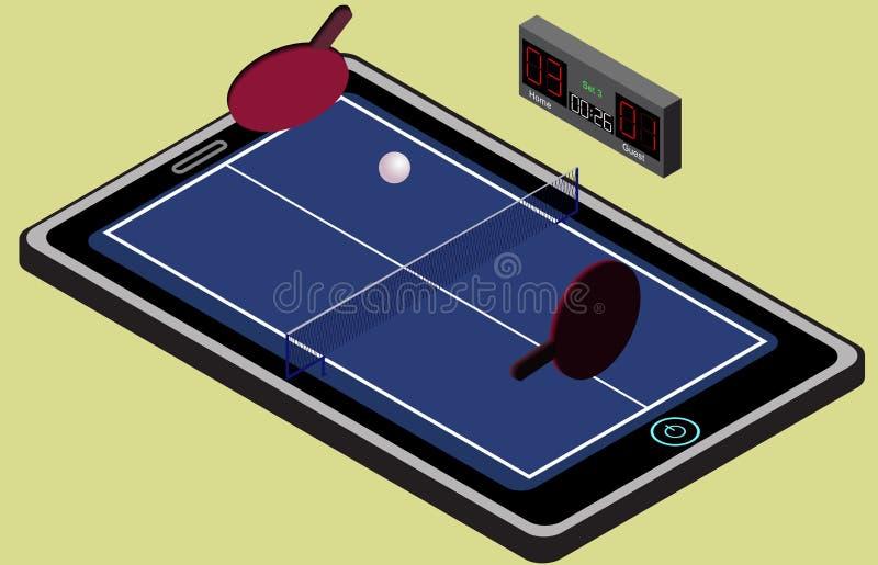Infographic乒乓球蓝色网球操场、球和球拍 等量图象 库存例证