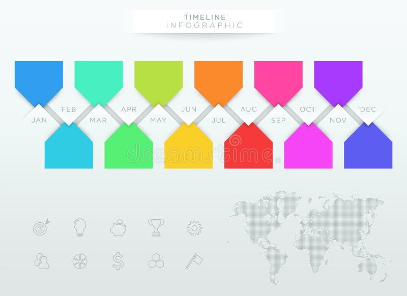 Infographic五颜六色的时间安排与年的12个月 向量例证